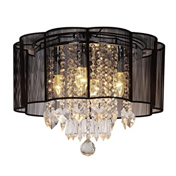 Dst Moderne 4 Beleuchtung Schwarz String Shade Kristall Deckenleuchter  Deckenlampen Kronleuchter Für Esszimmer Wohnzimmer Schlafzimmer