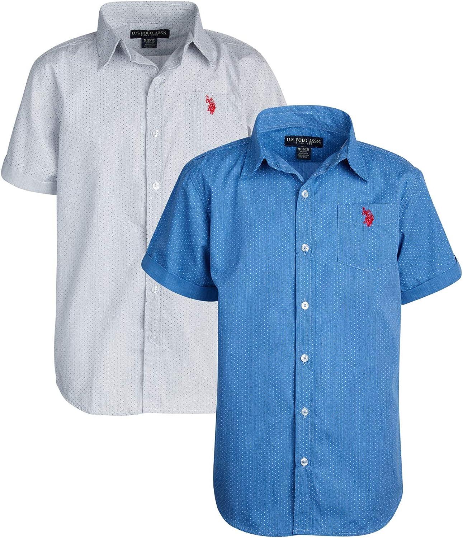 U.S 2 Pack Boys Short Sleeve Woven Shirt Polo Assn
