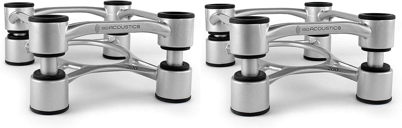 "IsoAcoustics Aperta Series Isolation Speaker Stands with Tilt Adjustment: Aperta200 (7.8"" x 10"") Silver Pair"