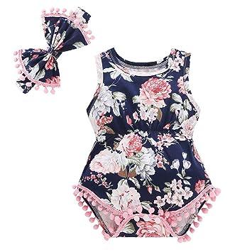 ae329d28f7fb5 oldeagle Summer Infant Newborn Baby Girls Floral Tassels Romper  Bodysuit+Headband 2PCs Outfits Set (