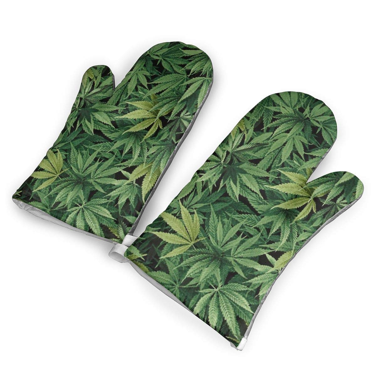 Feederm Cannabis Leaf Oven Mitts,Professional Heat Resistant Microwave Oven Insulation Thickening Gloves Baking Pot Mittens Soft Inner Lining Kitchen Cooking