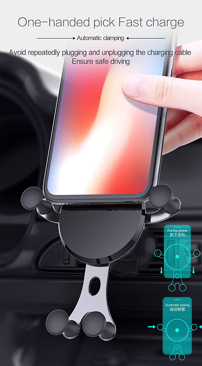 10 W Fast Charger QI Wireless Car Charger Air Vent Phone Holder Wireless Charger for Samsung Galaxy S9//S9+//S8//S8+//Note 8 Car Phone Mount Wireless Charger 7.5 W iPhone Xs Max//Xs//XR//X// 8//8 Plus Shenzehen Desire Technology