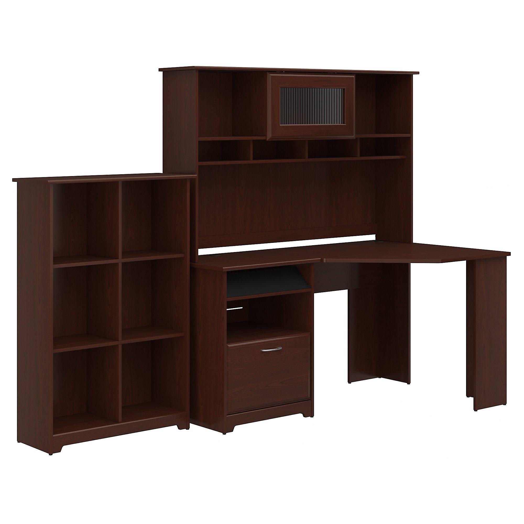 Bush Furniture Cabot Corner Desk with Hutch and 6 Cube Organizer in Harvest Cherry by Bush Furniture