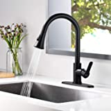 AMAZING FORCE Matte Black Kitchen Faucet Pull Down Kitchen Faucets Stainless Steel Kitchen Faucet with Pull Down Sprayer…
