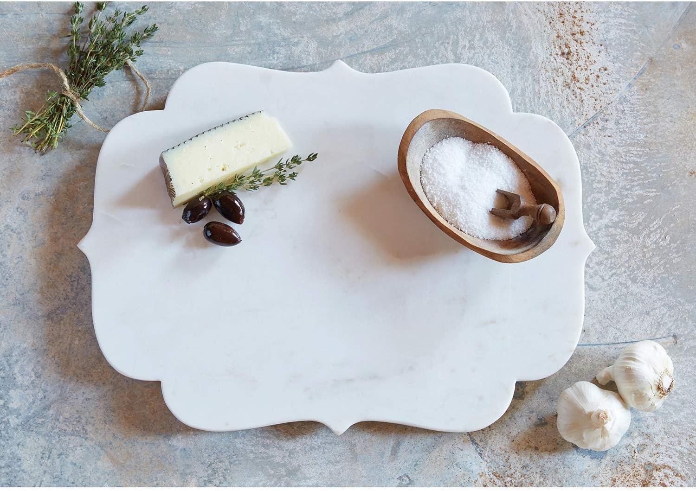 SB Design Studio D1824 Table Sugar Cheese Board 15 x 11-Inches White Marble