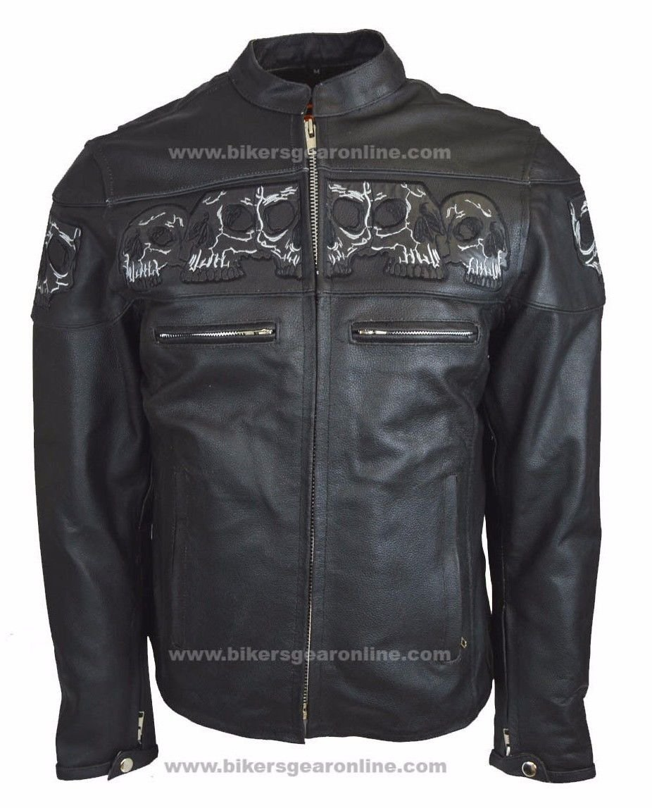 MEN'S RIDING REFLECTIVE SKULLS CROSSOVER LEATHER JACKET VENTED THICK LEATHER (Small Regular)