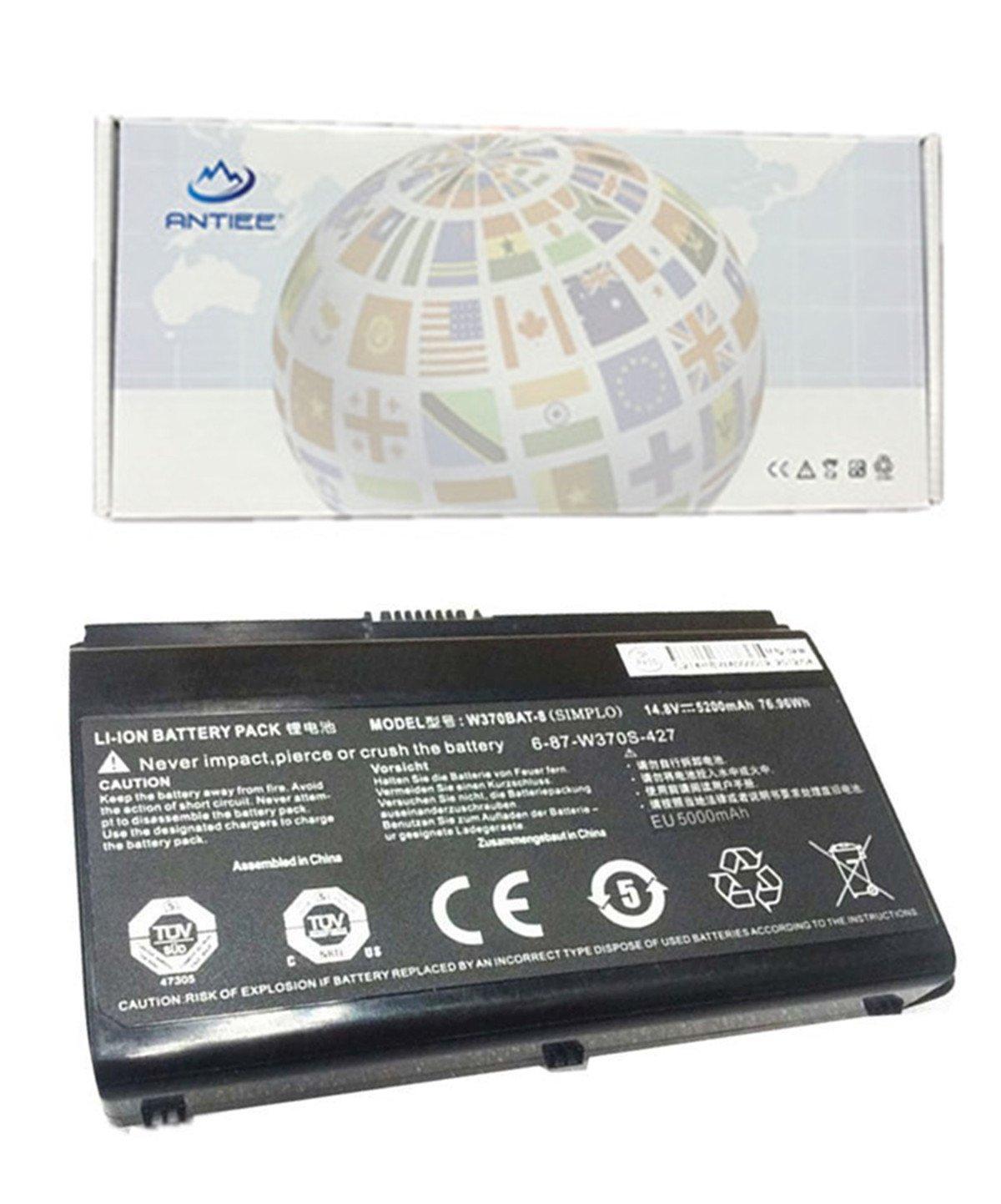 ANTIEE W370BAT-8 Battery for Clevo 6-87-W370S-427 6-87-W37ES-427 W350ET W350ETQ W355STQ Sager NP6350 NP6370 76.96Wh 5200mAh Series Notebook