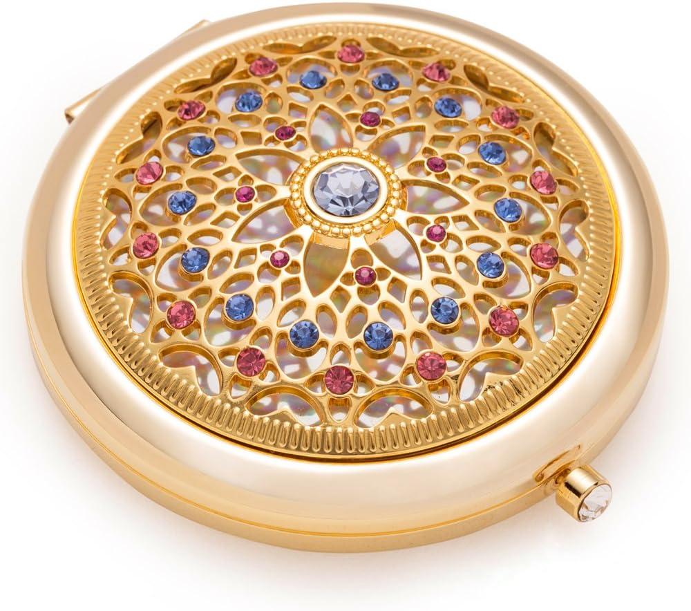 Jinvun Espejo de Aumento Galvanizado en Oro de 24 Quilates: Lujoso Espejo Para Maquillaje con Diamantes - Pequeño Espejo de Bolsillo Cosmético Compacto Para Viaje - Espejo Redondo Plegable de Belleza