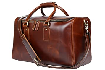 Amazon.com: Huntvp Mens Leather Travel Duffel Bag Weekend Carry On ...