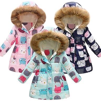 9ec55a711 WARMSHOP Kids Baby Boys Girls Windproof Coat,Autumn Winter Thick Warm  Floral Print Fleece Inside