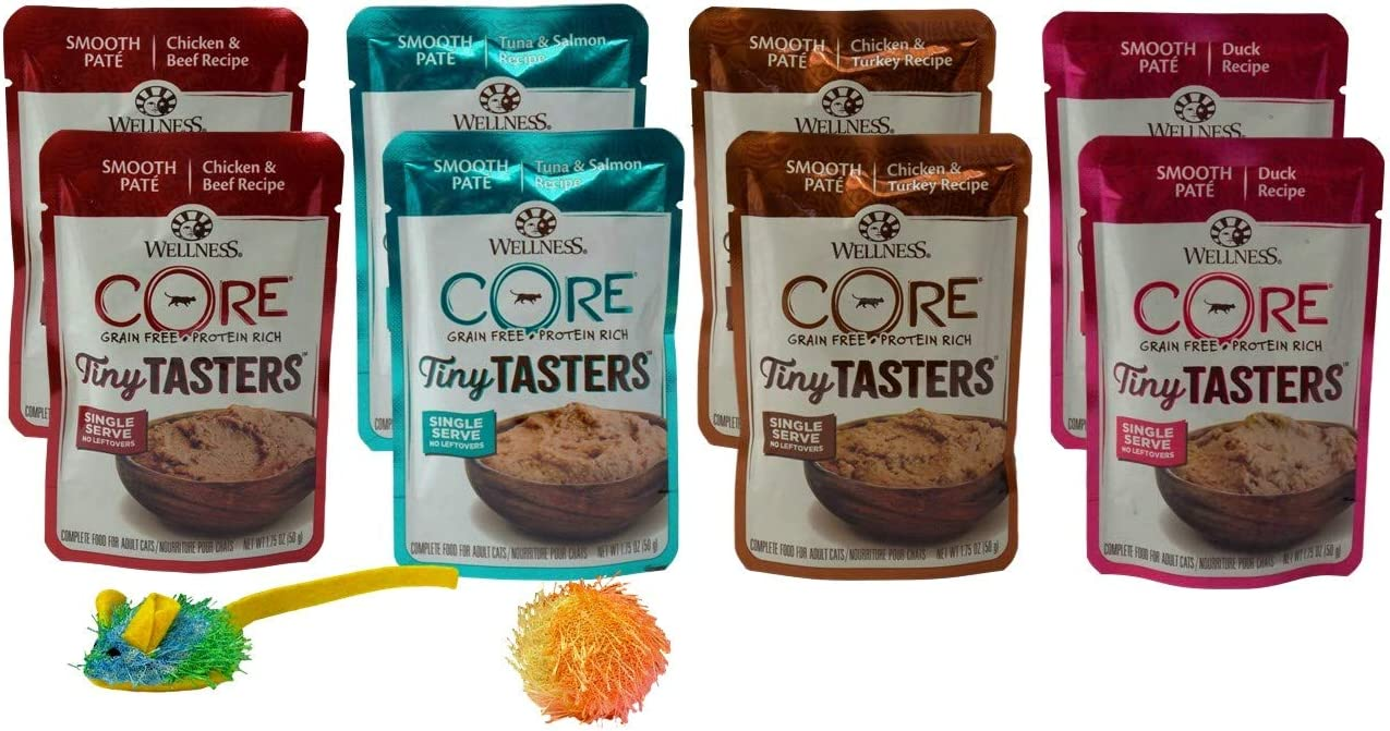 Wellness CORE Tiny Tasters Grain Free Cat Food 4 Flavor 8 Pouch Plus 2 Toys Sampler Bundle, (2) Each: Chicken Beef, Tuna Salmon, Chicken Turkey, Duck (1.75 Ounces)