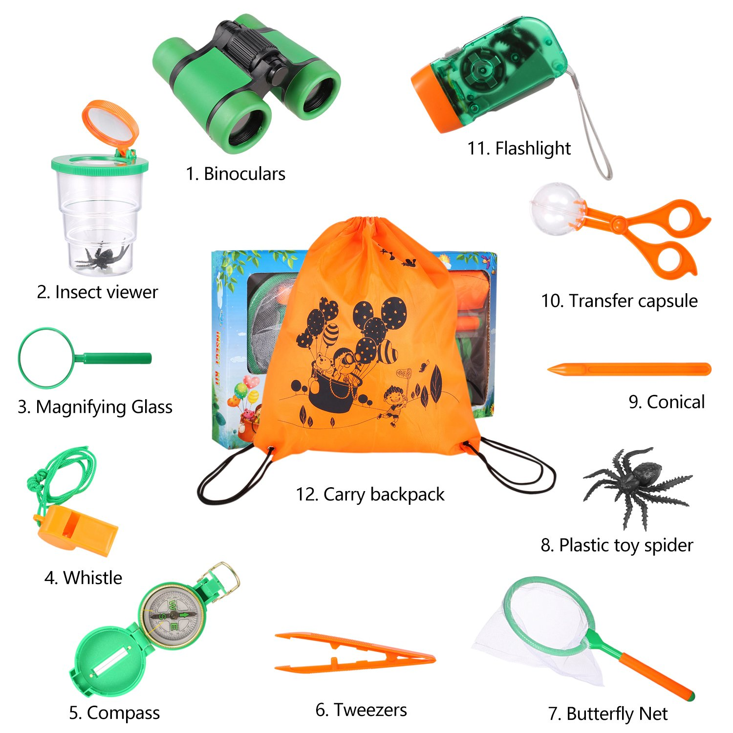 Outdoor Adventure Set for Kids - Explorer Kit, Educational Toys, Binoculars, Flashlight, Compass, Magnifying Glass, Butterfly Net, Tweezers, Bug Viewer, Whistle, Gift Set For Camping Hiking Backyard by Harlerbo (Image #7)