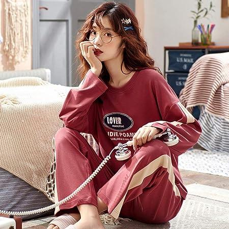 SMYFM Pijama, Pijamas de algodón para Mujer Primavera Otoño Traje de casa Ropa de Dormir Conjuntos de Pijamas Pijamas de Manga Larga para Mujeres Algodón, B11029, L: Amazon.es: Hogar