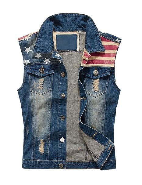 Lrt Men S Sleeveless Denim Vest Jacket At Amazon Men S Clothing Store