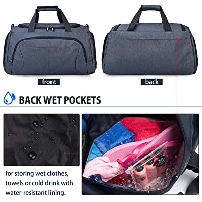 Waterproof Large Sports Bag Grey Lightweight Durable Sports Duffel Gym Wet Pocket Shoes Compartment