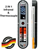 Gourmia GTH9150 Commercial Grade Contact & Non Contact Thermometer Dual Meat Thermometer With Digital Thermonuclear & Infrared Readings Dust and Splash Proof
