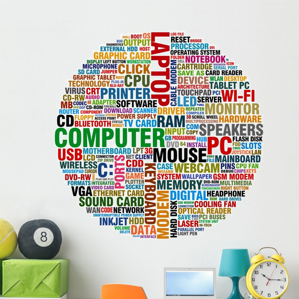 Wallmonkeys WM203595 Word Collage About Computer Technology Peel and Stick Wall Decals H x 48 in W, 48'' 48'' W-Extra Large