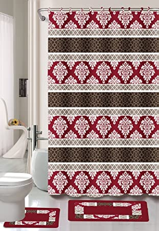 Burgundy/Black/Red Jane 15 Piece Bathroom Set: 2 Rugs/