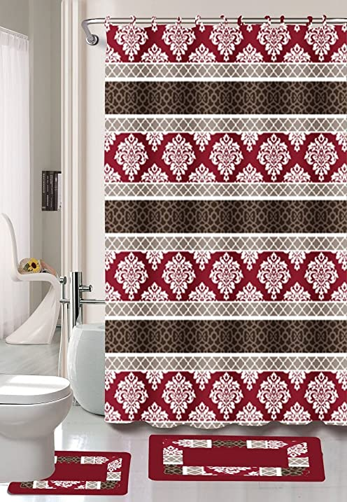 Amazon.com: Burgundy/Black/Red Jane 15-Piece Bathroom Set: 2-rugs ...