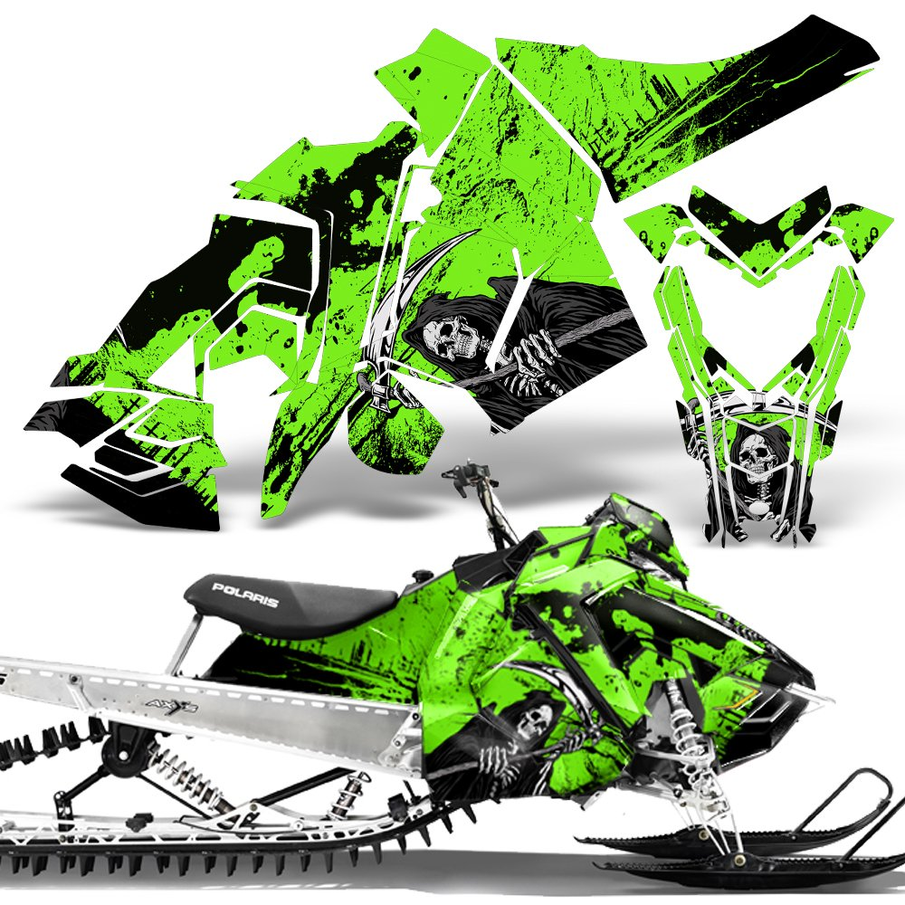 Polaris AXYS SKS Pro RMK Sled Wrap Graphic Kit Stickers Snowmobile REAPER  GREEN c5a3afcf44bdb