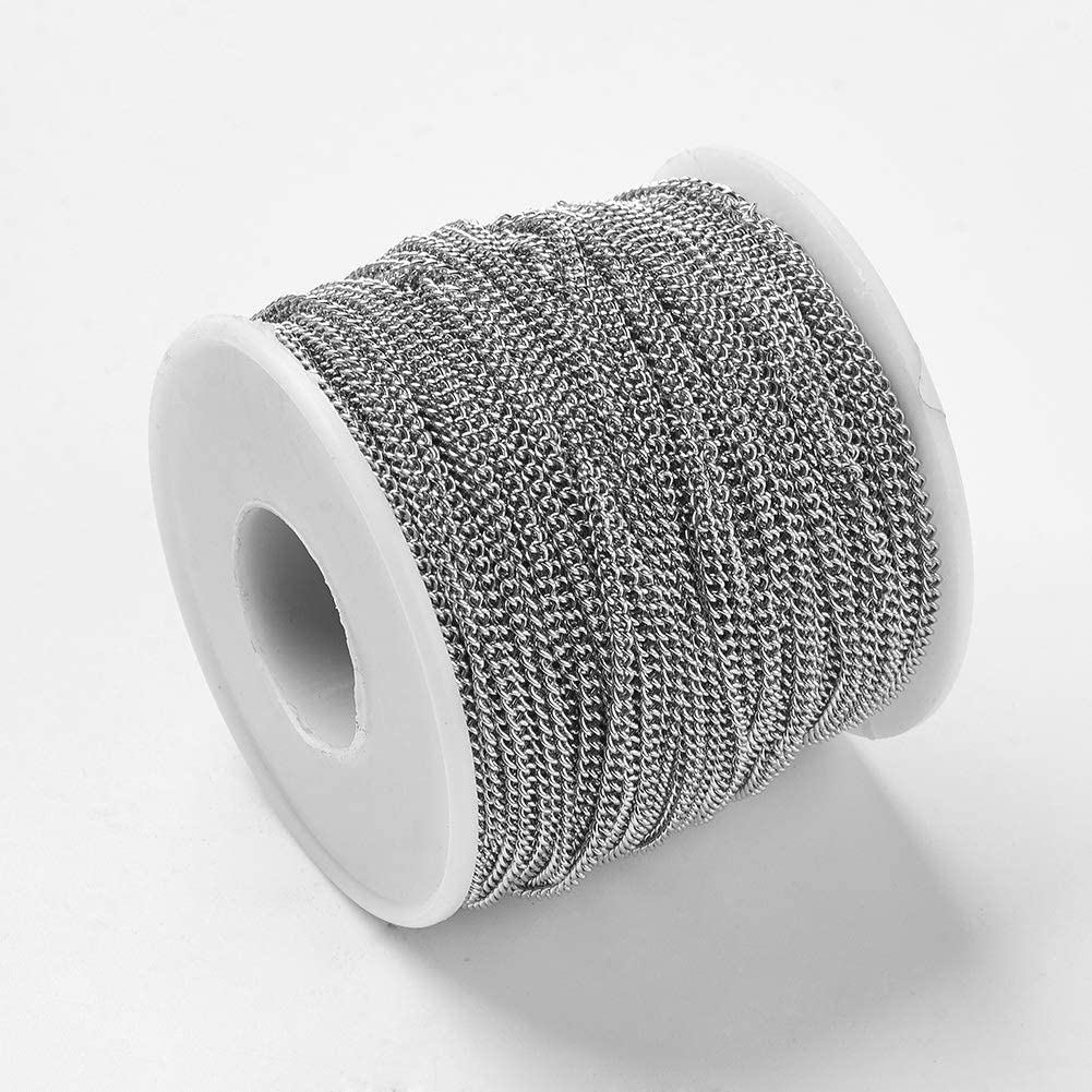 UNICRAFTABLE About 50m//roll 304 Stainless Steel Chains Soldered with Spool Nacklaces Twist Chains Metal Jewelry Chains for Mens Jewelry Making 3x2x0.6mm