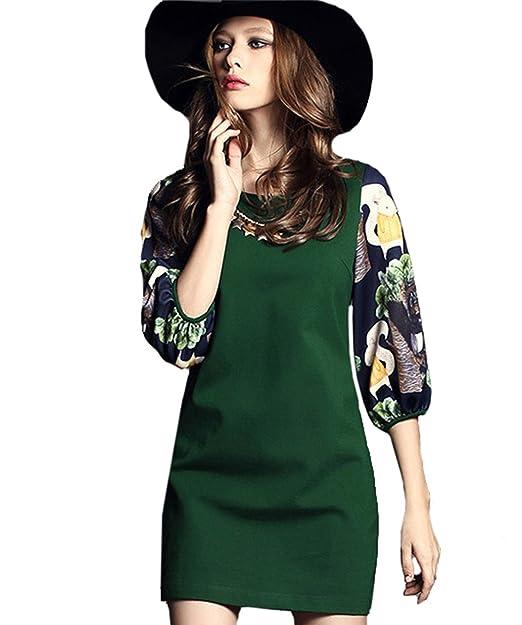 sheinside® Mujer Delgado vestido de media manga con ardilla patrón, Verde verde medium