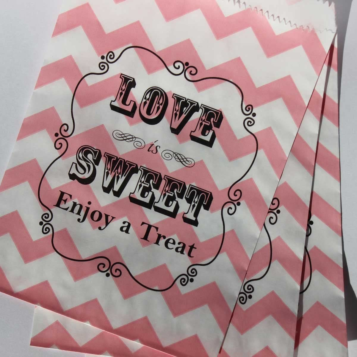 Bakers Bling Wedding Party Favor Bags with Stickers, Pink and White Chevron Stripe Love is Sweet Enjoy a Treat Candy Bags, 5.5 x 7.5, Set of 48 Bags and 48 Stickers