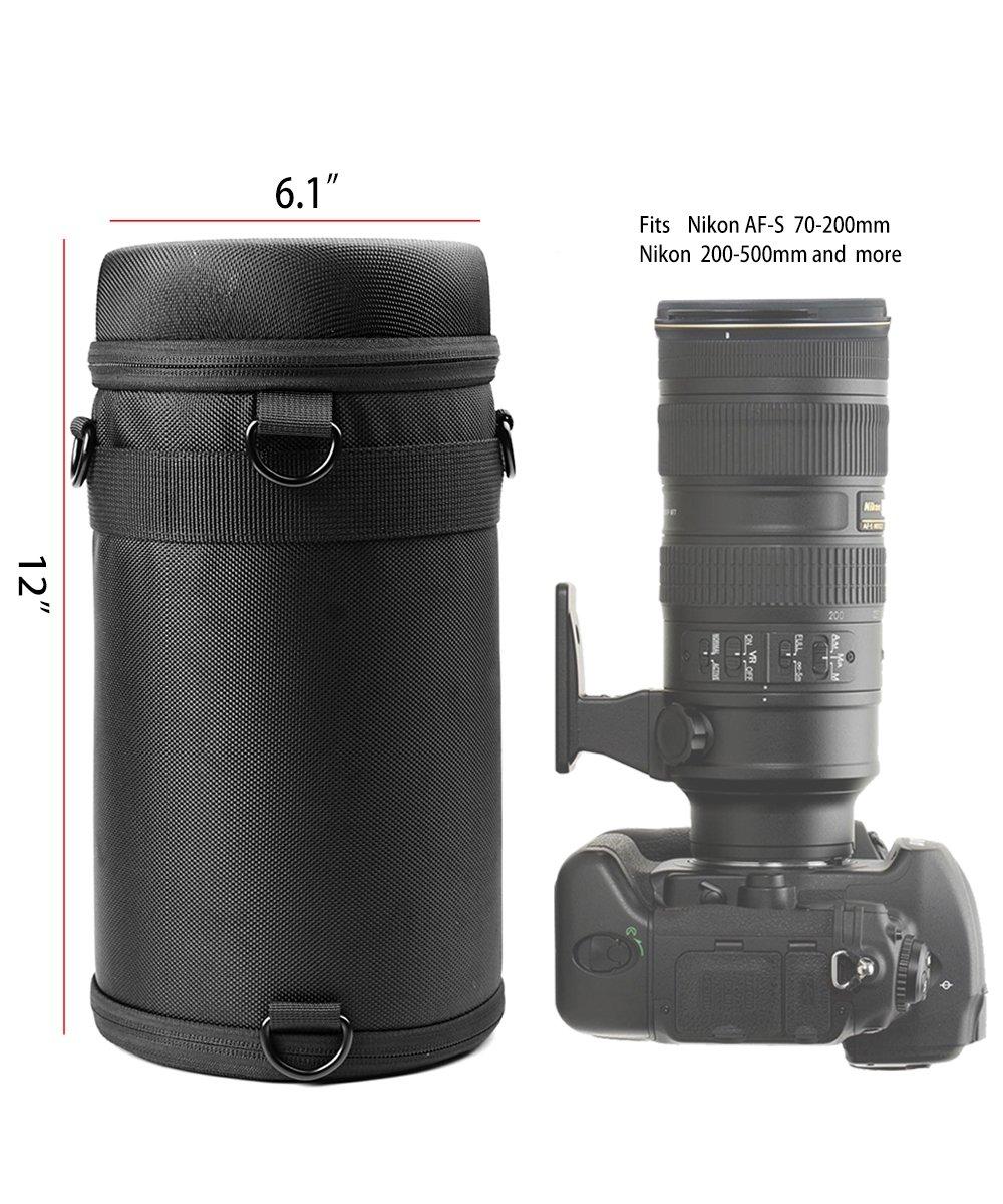 WGear Semi-Hard Lense Case for DSLR Camera Lens (Canon, Nikon, Sony, Pentax, Olympus, Panasonic,etc), Medium Size with Carabiner, lens cleaning wipe (Black Medium) (Black XL)