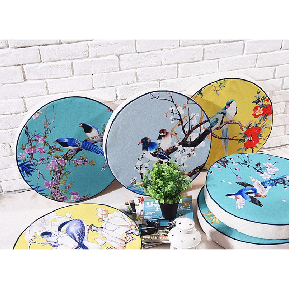 dream_home America Rural Bird and Flower Style Round Zafu, for Bay Window/Balcony/Floor/Table, 16 Inch by dream_home (Image #3)