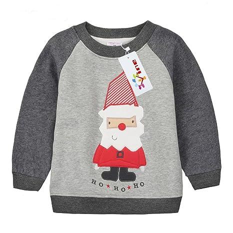 e8eb0236fe868 Bébé Sweat-Shirt Noël Pull-over pour Enfant Épais Sweatshirt Tops pour fille  et