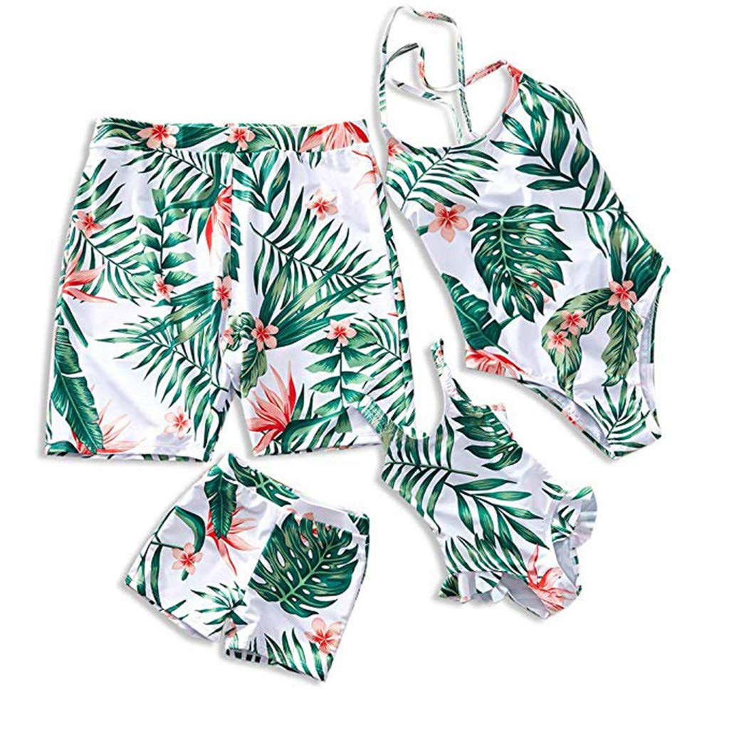 Kehen Family Matching Swimsuit Women Men Girl Boy One Piece Rainforest Leaves Printed Swimwear Bathing Suit