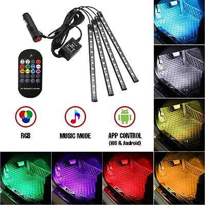 TUNEZ Interior Car Lights, Car LED Strip light 48 LED App Wireless Controller Lighting Kits, Multicolor Music Under Dash Led Car Interior lights with Car Charger Car Atmosphere Light, DC 12V: Automotive