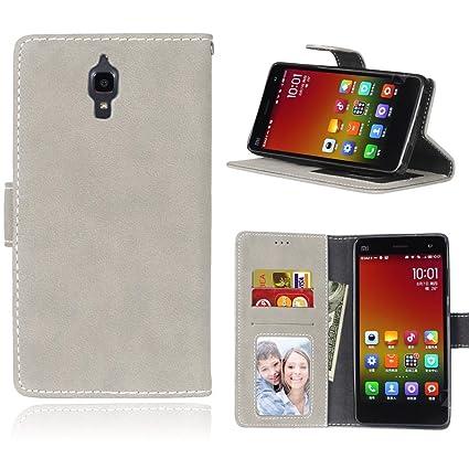 Funda para Xiaomi Mi4 - [Gamuza][Scrub] FUBAODA Funda Cuero PU Billetera Folio Carcasa, Piel Case Cover con Soporte Plegable para Xiaomi Mi4 (Gris)
