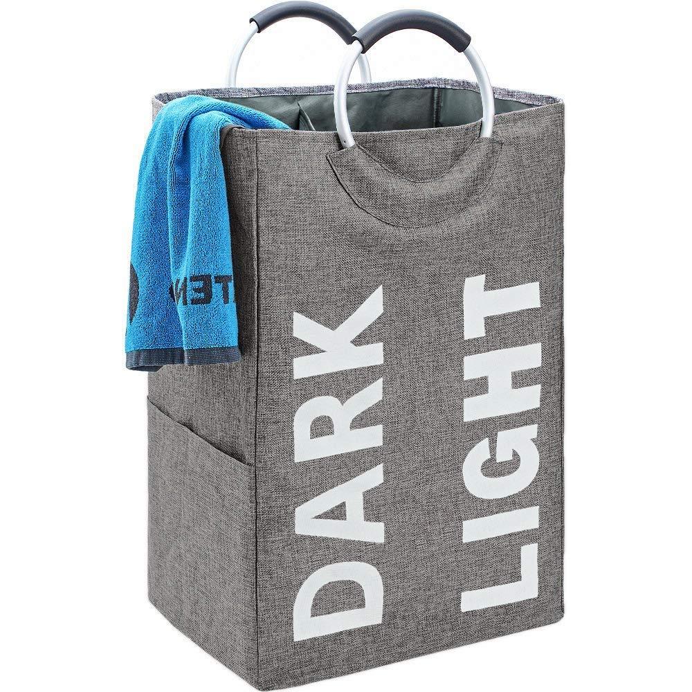 BGTREND Double Laundry Hamper Bag with Handle Easily Transport Foldable Large Laundry Basket