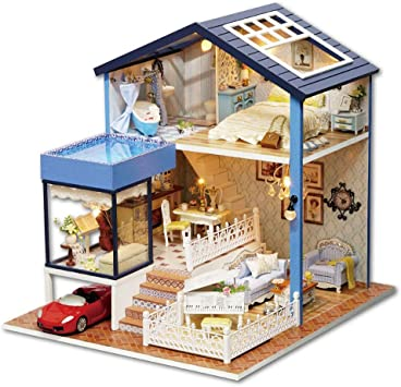 Garsent DIY Dollhouse, Wooden DIY Cabin House Model Handmade House ...