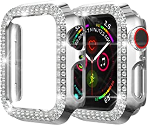 KCOYO Case Compatible with Apple Watch Bands 40mm 44mm Women Girls Luxury PC Diamond Jewelry Cover Bumper for Apple Watch Series 6 5 4 SE Screen Protector (Silver, 40mm)