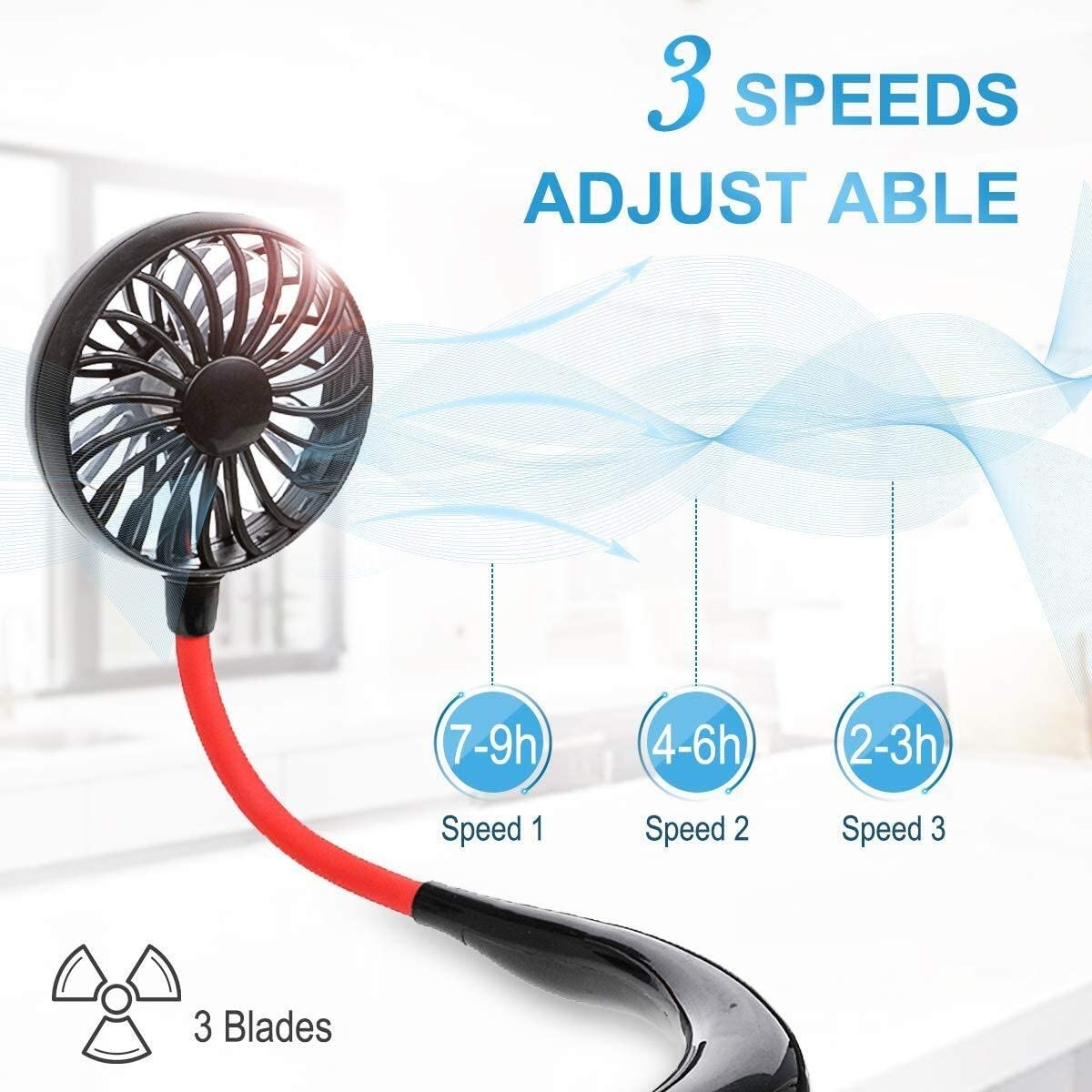 Carprie Fan Mini Portable USB 1200mAh Rechargeable Neckband Lazy Neck Hanging Style Dual Cooling Fans Gadget Inteligente Color : White