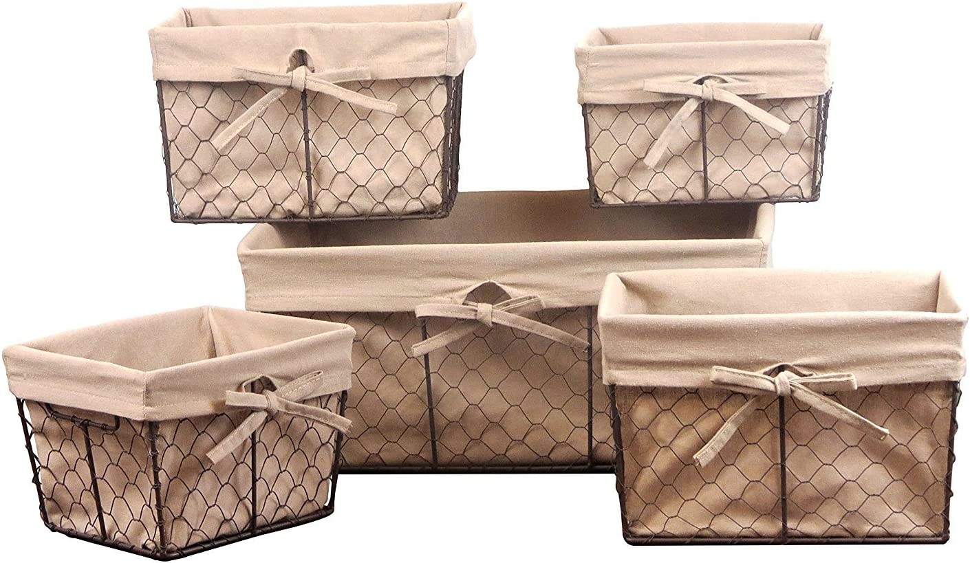 DII Vintage Chicken Wire Basket Removable Fabric Liner, Assorted Set of 5, Natural