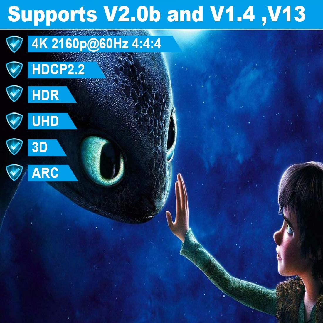 Ultra High Speed 18Gbps Support Ethernet//ARC,28AWG OD8.6mm Video 4K UHD 2160 HD 1080P OneConvey 4K HDMI Cable 15 Feet