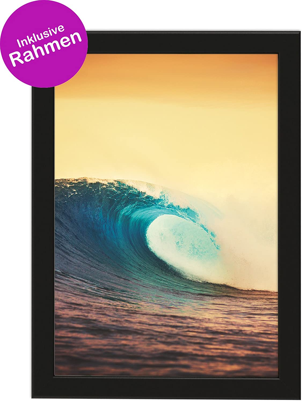 PICSonPAPER Kunstdruck Din A4 Sunset Wave, gerahmt, Inklusive ...