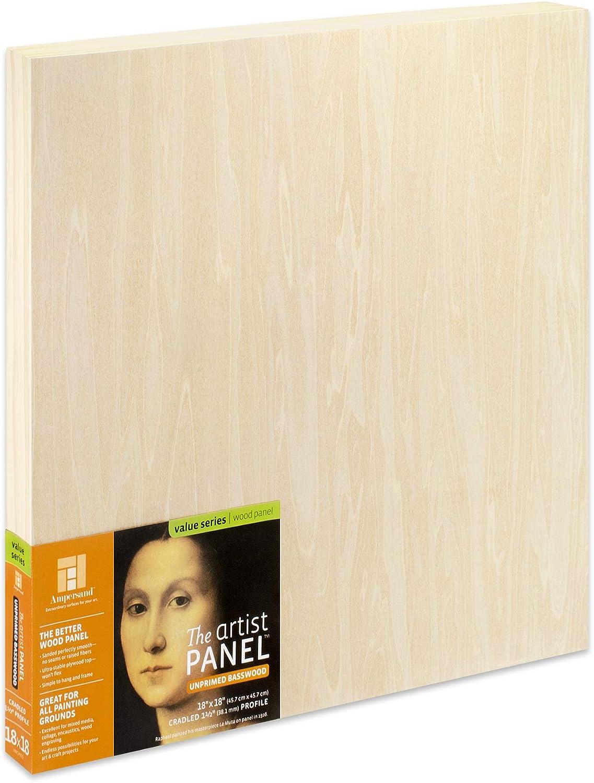 UPWP151818 18x18 Ampersand Art Supply Unprimed Basswood Artist Panel 1-1//2 Cradled Profile