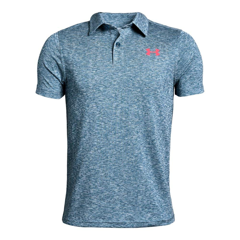 Under Armour Tour Tips Polo, Petrol Blue Light Heather//Blit, Youth X-Small by Under Armour