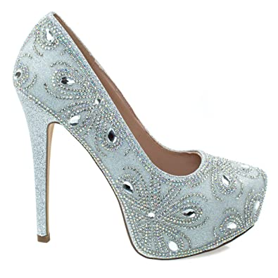 42e8c6c21b Blossom Kinko140 Silver High Heel Stiletto Dress Pump w Covered Platform & Rhinestone  Glitter -5.5