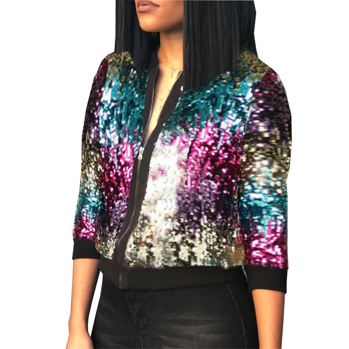 Women's Spring Autumn Fashion Zip Up Sequins Biker Bomber Jacket Baseball Jacket Casual Short Coat Outwear XL