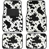 BDK 4-Piece Safari Animal Print Carpeted Mat - (Cow)