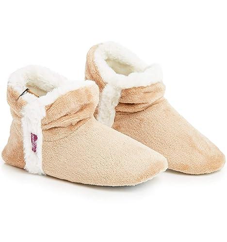 Dunlop Zapatillas De Estar En Casa Altas para Mujer, Botas Pantuflas Cerradas Invierno, Interior Suave Peluche con Suela de Goma Antideslizante, Mujer