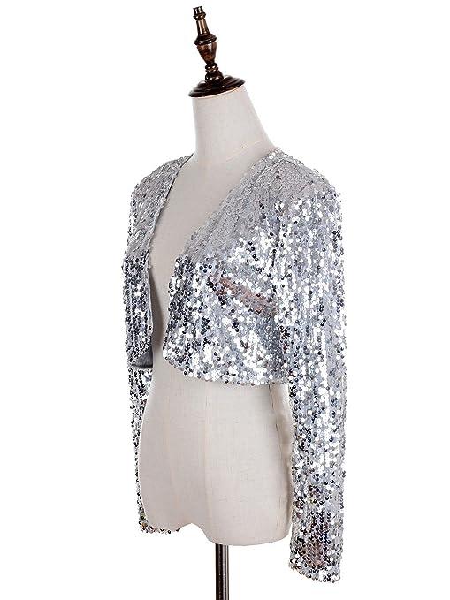 Anna-Kaci Femmes Paillettes Sequins Manches Longues Blazers Bolero  Haussement d épaules recadrée Veste dc911f45c467