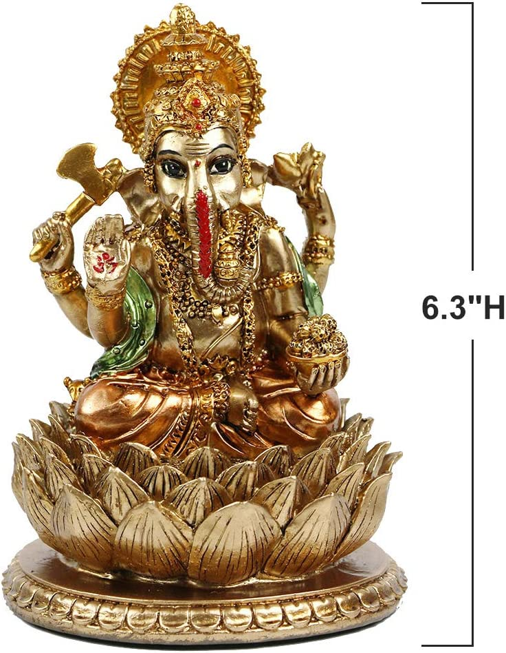 "6.3""H Hindu God Lord Ganesha Statue in Antique Gold for Home Decor, India Buddha Ganesh Idol Elephant Figurine Indian Pooja Mandir Wedding Decoration/ Diwali / Home Temple"