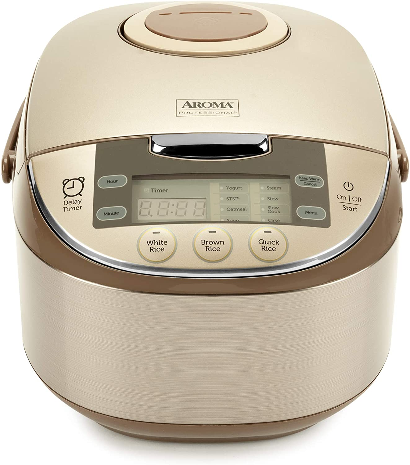 Aroma Housewares Professional 12-Cup (cooked) / 3Qt. Cool-Touch Digital Rice Cooker, Food Steamer & Slow Cooker, Sauté-then-Simmer function, champagne, ARC-6106AC