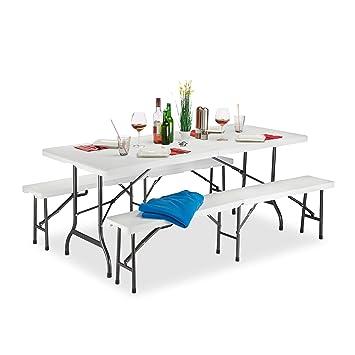 Relaxdays Bierzeltgarnitur Klappba, 3er Gartenmöbel Set, Uni, H X B X T: